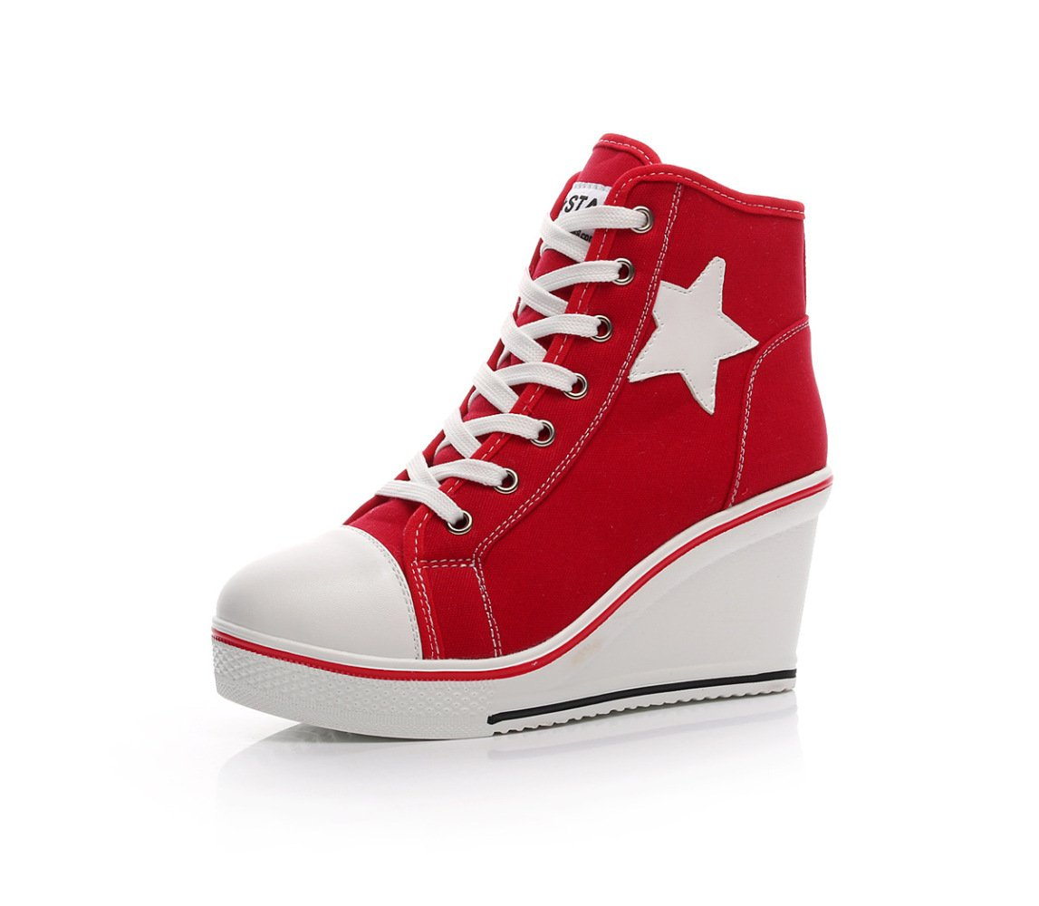 NBWE Femmes Wedge Wedge Heels Red Sneakers Toile Chaussures 8cm Raise Femmes Chaussures Zipper Lace Up Taille 40-43 Chaussures Casual Red 3c97d85 - fast-weightloss-diet.space