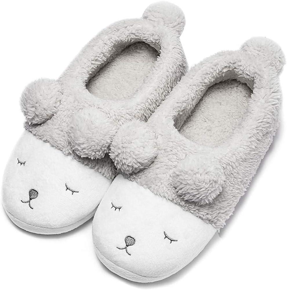 GaraTia Warm Indoor Slippers for Women Fleece Plush Bedroom Winter Boots White Low Top