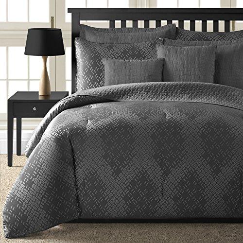 Comfy Bedding Echo Dot Jacquard 5-piece Comforter Set (Grey, King)