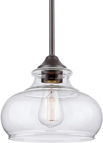 Kira Home Harlow 9″ Modern Industrial Farmhouse Pendant Light