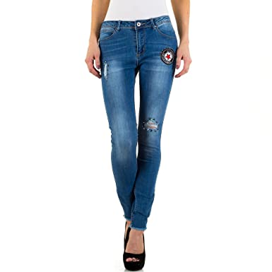 1728e1fbef80 Schuhcity24 Damen Jeans Hose Jeanshose Damenjeans Used Look Low Skinny  Röhre Röhrenjeans Bluejeans Blau XS