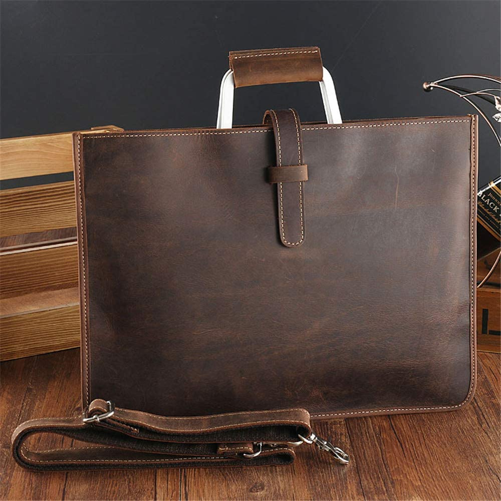 GAOCAN-BG Convenient Crazy Horse Leather Mens Bag Cross Section Retro Bag Briefcase Leather Suede Leather Mens Handbag Male Travel Bag Color : Coffee Colour