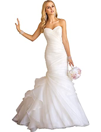Women S Sweetheart Ruched Organza Bridal Gown Mermaid Wedding Dress