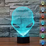 Gladle Alien 3D Touch Night Lamp 7 Color Changing USB Desk LED Night Light Home Decor Customized Gift