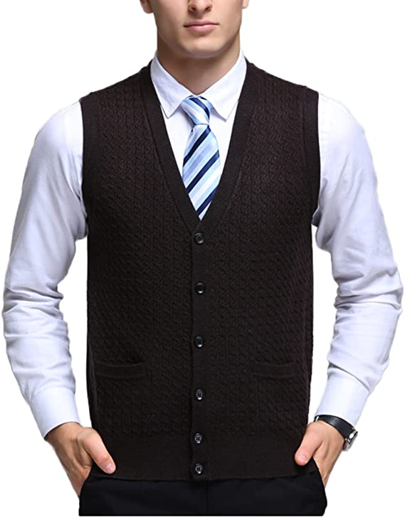 Button up sweater vest for men ma crossover nt7