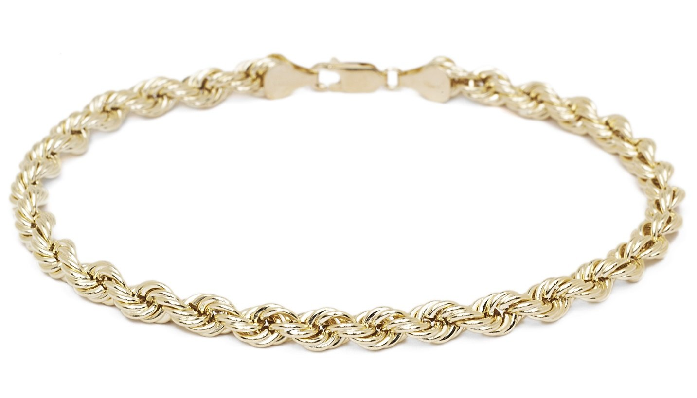 8 Inch 10k Yellow Gold Hollow Rope Chain Bracelet for Men and Women, 4mm (0.16'')