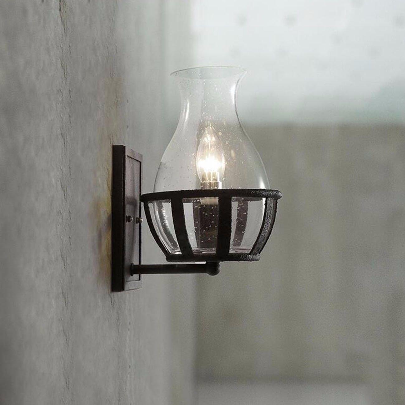 T-ZBDZ Nostalgische Glasweinflasche schmiedete Wandlampe industrielle Gartenaußenwandlampe, die Beleuchtung, weißes Licht modelliert