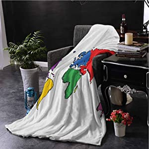 SSKJTC Printing Artwork Blanket World Map Contemporary Illustration of World Map Image Where People Live Education Theme Multicolor Bedroom Dorm Sofa Baby Cot Beach W50 xL60