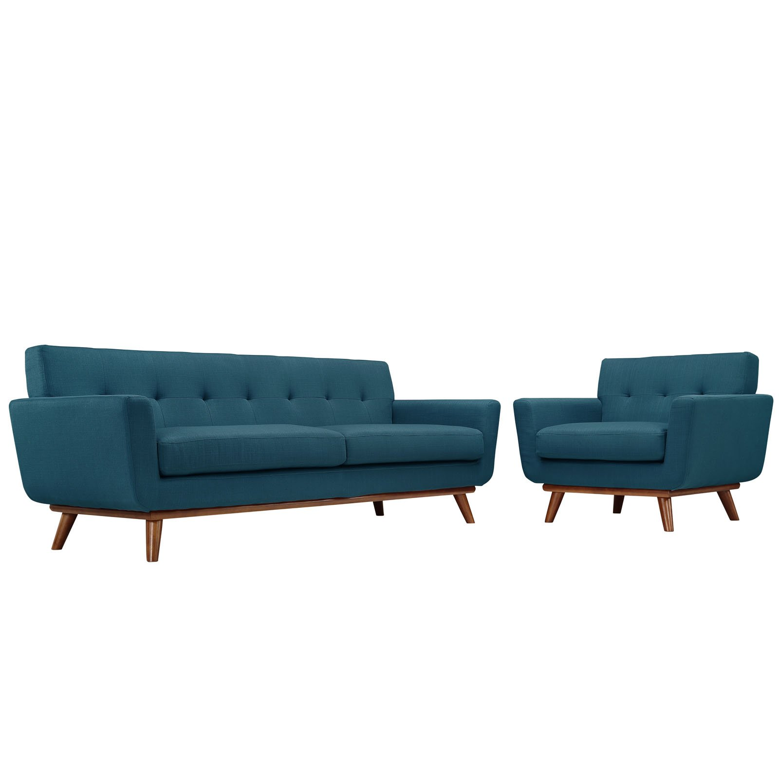 Modway Engage Mid-Century Modern Upholstered Sofa and Armchair Set in Azure by Modway
