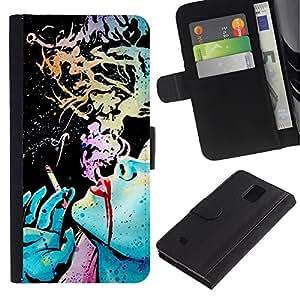 APlus Cases // Samsung Galaxy Note 4 SM-N910 // Negro tinta arte Fumando Señora verde azul // Cuero PU Delgado caso Billetera cubierta Shell Armor Funda Case Cover Wallet Credit Card