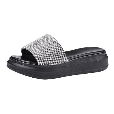 YE Damen Flache Pantoletten Plateau Sandalen Offen mit Glitzer Outdoor Slipper Schuhe