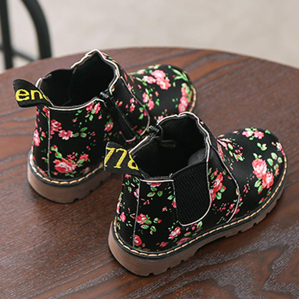 Quelife Autumn Winter Fashion Boys Girls Floral Martin Sneaker Winter Boots Thick Snow Baby Casual Shoes Sneakers