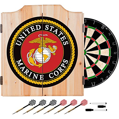US Marines Design Deluxe Solid Wood Cabinet Complete Dart Set by TMG