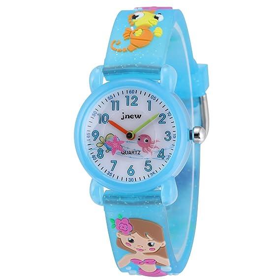 Jewtme - Reloj analógico para niños de 3 a 8 años con correa de silicona 3D para niños pequeños, niñas y niños, color azul sirena: Amazon.es: Relojes