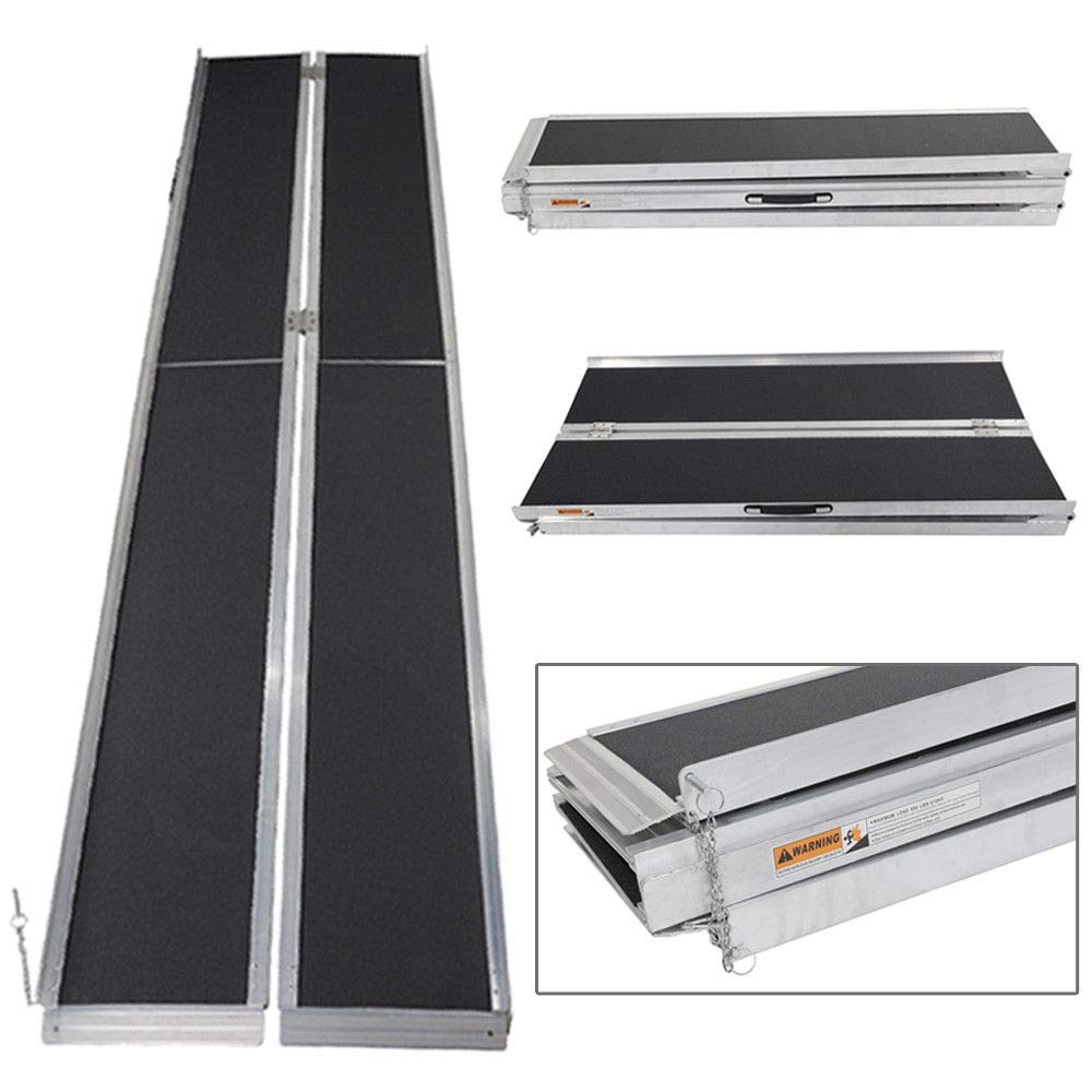 10' ft Wheelchair Ramp Portable Aluminum Mobility Suitcase Design Slip Resistant Multifold by TRIBLE SIX