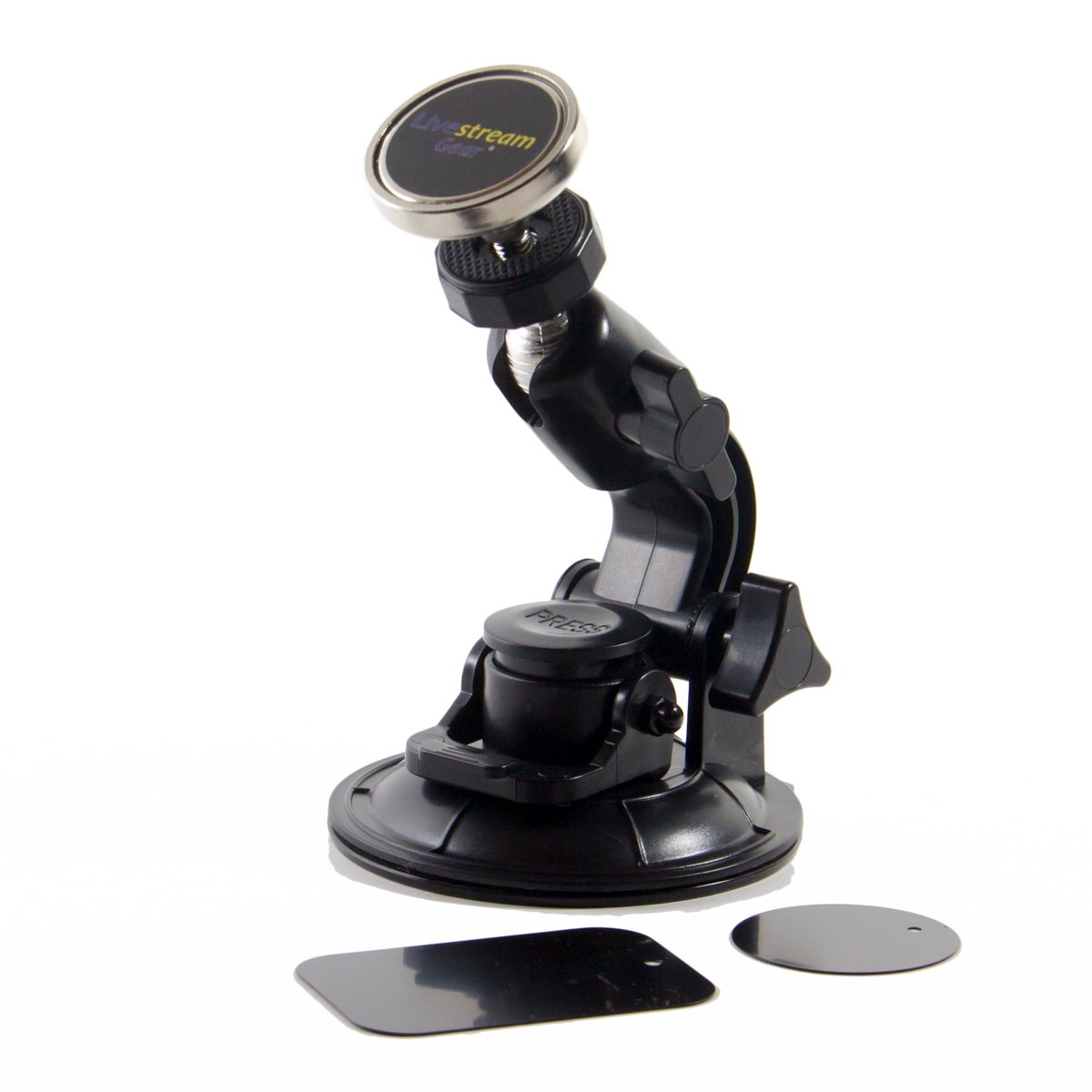 Cellfy Inc Livestream Gear Universal Magnetic Phone Mount and Suction Cup Mount for Glass//Windshield in Car//Truck Easily Attach a Phone to Glass Surfaces via Magnetic Mount and Metallic Plates Strong Hold 603