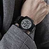 Mens Digital Sports Watch LED Screen Large Face Military Watches and Waterproof Casual Luminous Stopwatch Alarm Simple Army Watch - Black
