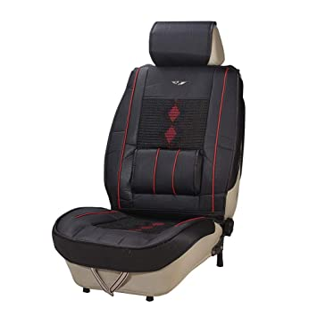 PU Leather Car Seat Cover Cushion Back Support Waist Massage Waterproof Black UK