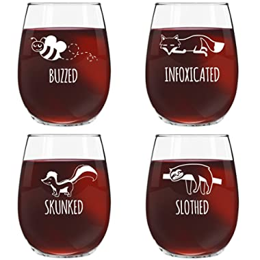 Funny Stemless Wine Glass Set | Animal Pack Set of 4 Glasses | Buzzed, Infoxicated, Skunked and Slothed | Novelty Glasses with Cute Sayings for Women, Her | Quality Made in USA