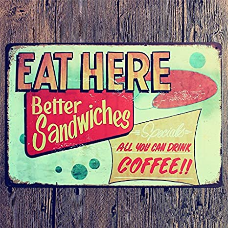 MagiDeal COFFEE Vintage Tin Sign Bar Pub Cafe Wall Decor Retro Metal Art Poster 01 One Size