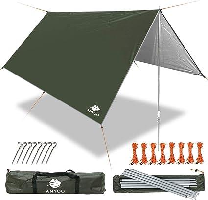 Anyoo Camping Tarp Shelter Lightweight Hammock Rain Fly Waterproof Durable Portable Compact for Fishing Beach Picnic