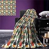 Cactus Digital Printing Blanket Mexican Succulent in Pots Botanical Themed Illustration House Plant Arrangement Summer Quilt Comforter 80''x60'' Multicolor