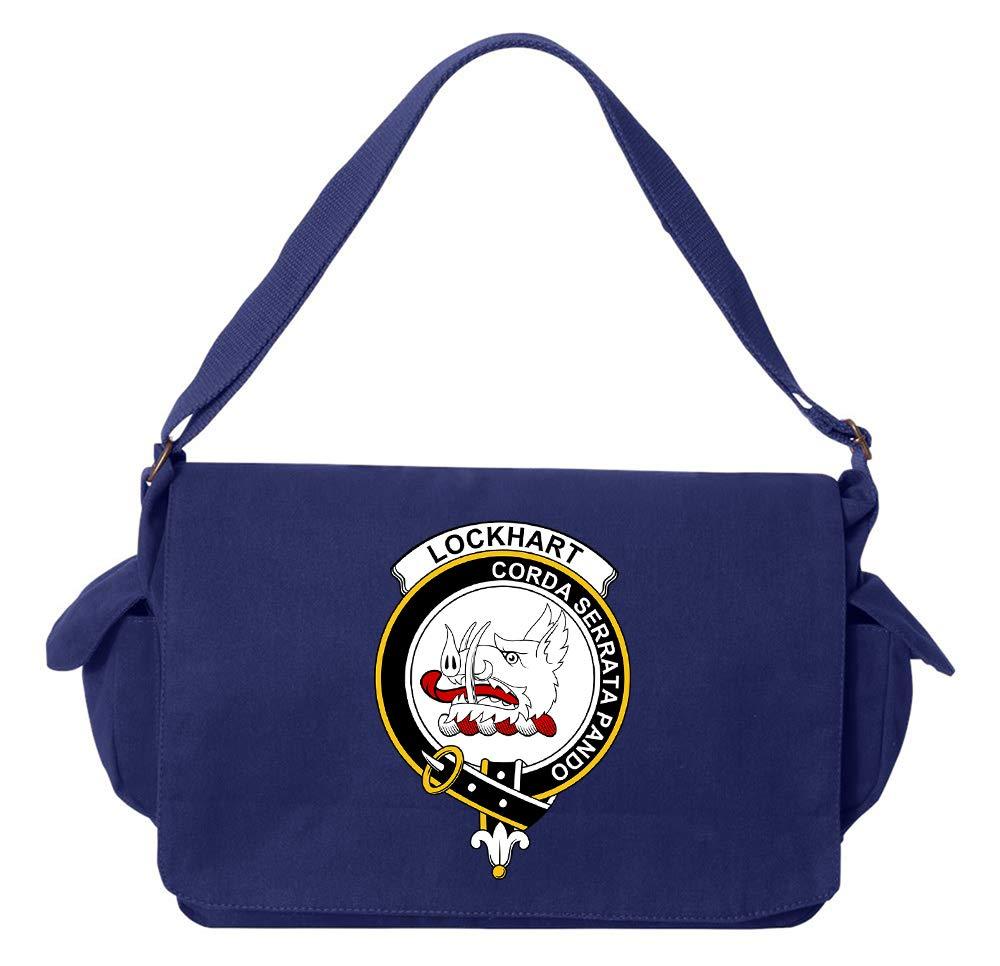 Tenacitee Scottish Clan Crest Badge Lockhart Flamingo Raw Edge Canvas Messenger Bag