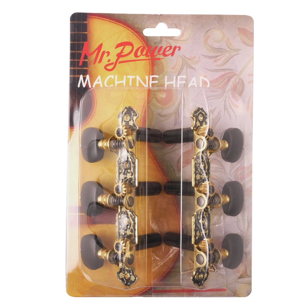 Mr.Power Classical Guitar Tuners Machine Heads 3+3 Set Tuning Keys Machine Pegs(Black Button) by Mr.Power (Image #1)