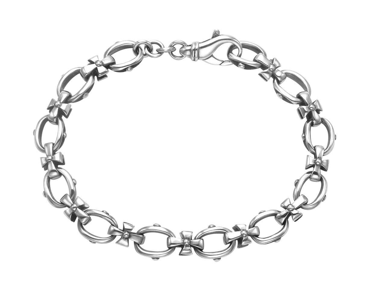 Wild Things Sterling Silver Oval and Cross Links Bracelet (7)