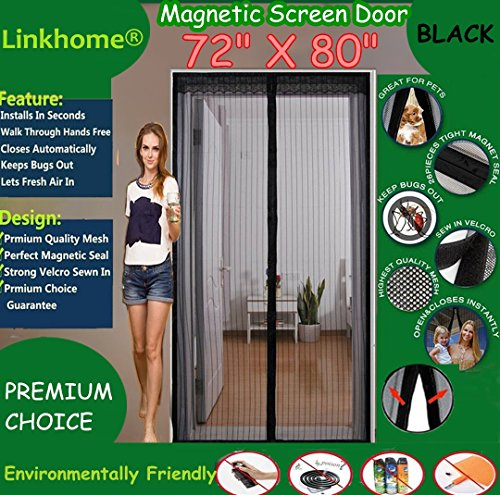 "Linkhome 72""(w) X 80""(h) Magnetic Screen Door for French Doors/Sliding Glass Doors/Patio Doors,Hands Free Instant Mesh Mosquito & Bug Net Curtain Black"