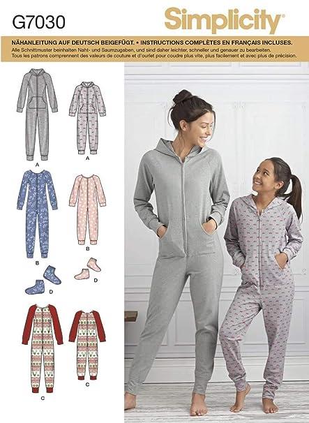 Simplicity patrón 7030.a traje y zapatillas mujer y niña, blanco, de 7