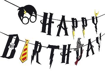 SHI WU Suministros de Fiesta de Harry Potter - Banner de Feliz cumpleaños Decoración de Fiesta de Guirnalda (Negro)