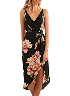 a12bd5faf3 Dearlove Women s Wrap V Neck Spaghetti Strap Floral Split Beach Casual Dress