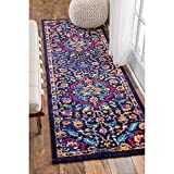 HandTufted Blue Medallion Runner Rug, Royal Oriental Hand Work Design, Red Blue Natural, Gorgeous Paisley Pattern, Country Traditional