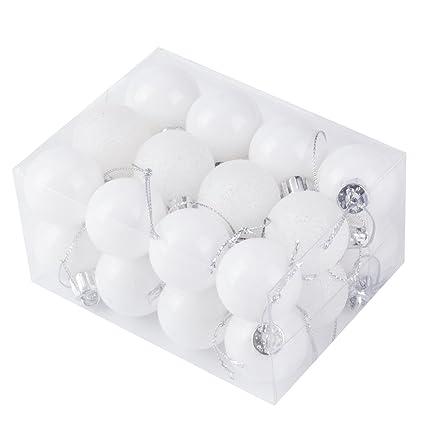 24pcs christmas balls ornament shatterproof pendants for holiday xmas garden decorations white - White Christmas Balls