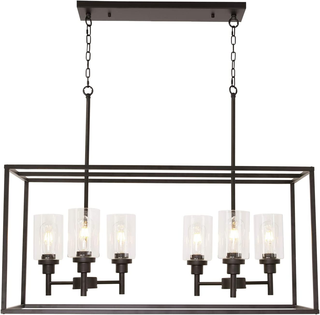 VINLUZ 6 Light Farmhouse Kitchen Island Lighting Oil Rubbed Bronze Dining Room Chandelier with Clear Glass Shade for Kitchen Bar
