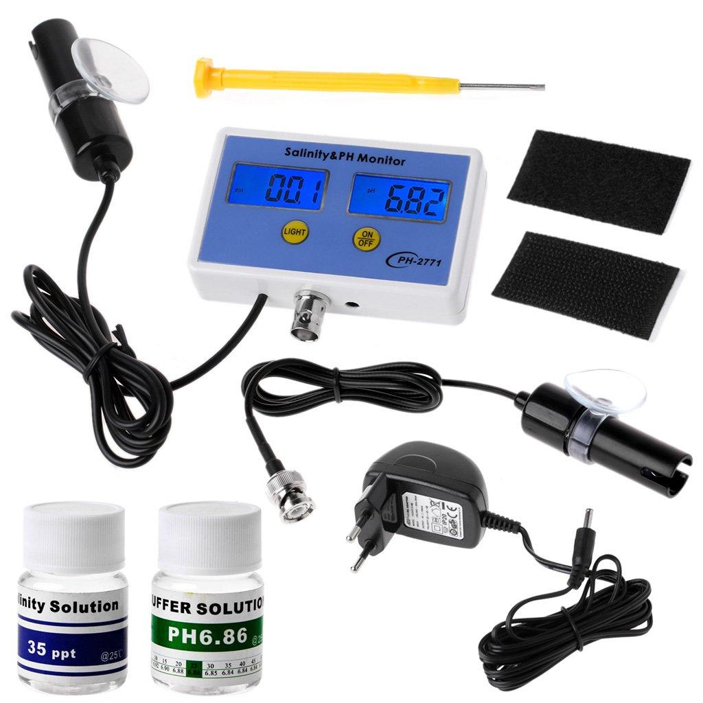 2in1 Digital Salinity & PH Meter Water Quality Monitor Test PH-2771 for Aquarium by LOLOVI