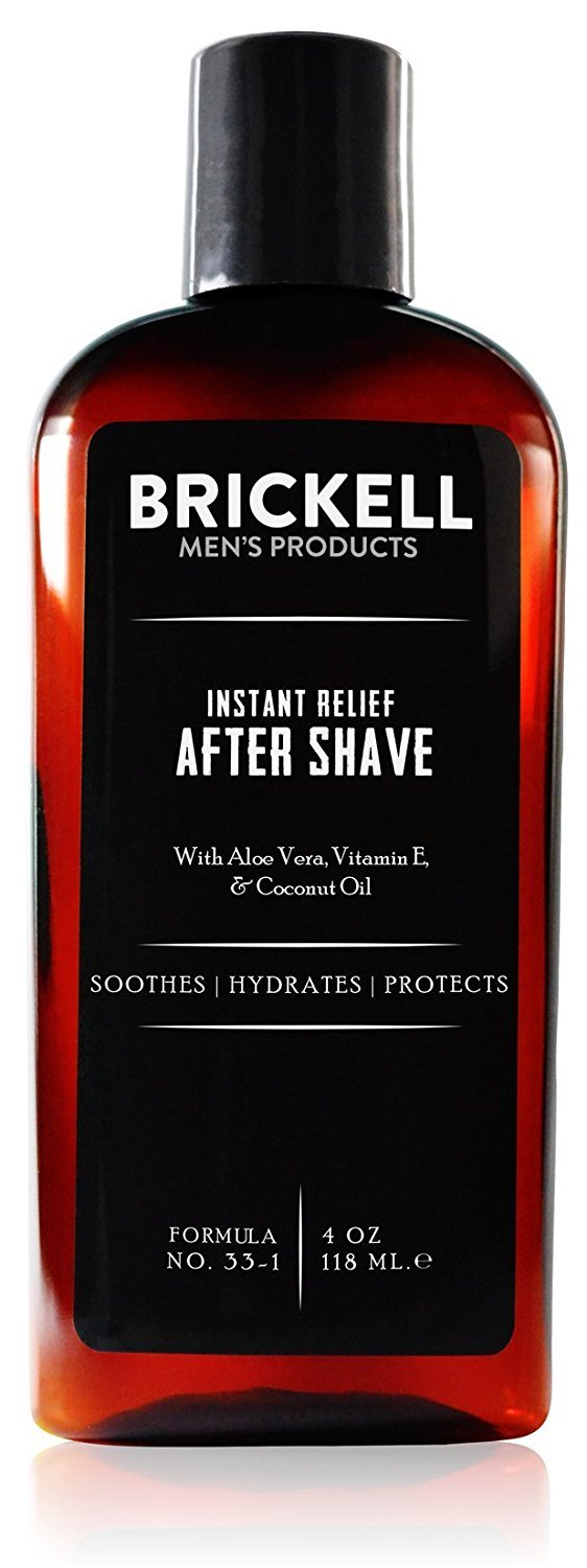Brickell Men's Instant Relief Aftershave for Men, Natural and Organic Soothing After Shave Balm to Prevent Razor Burn, 4 Ounce, Unscented
