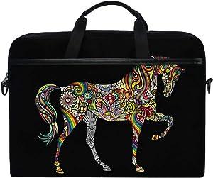 JOYPRINT Laptop Sleeve Case, Tribal Ethnic Floral Animal Horse 14-14.5 inch Briefcase Messenger Notebook Computer Bag with Shoulder Strap Handle for Men Women Boy Girls