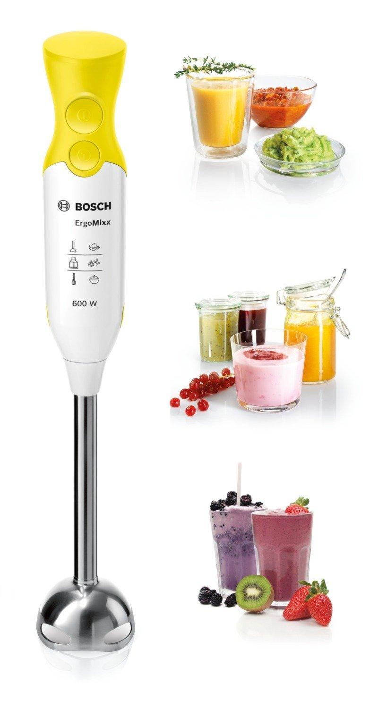 Bosch ErgoMixx MSM66110Y - Batidora de mano, 600 W, regulador de velocidad y función Turbo, cúpula con cuatro cuchillas, con vaso de mezclas, color blanco y ...