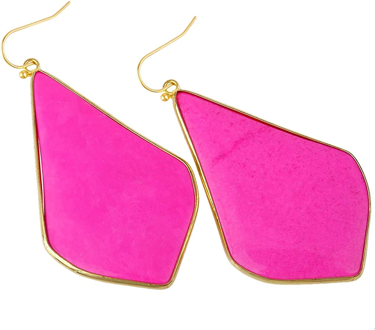 TUMBEELLUWA Crystal Quartz Stone Dangle Hook Earrings Rhombus Shape Gold Plated