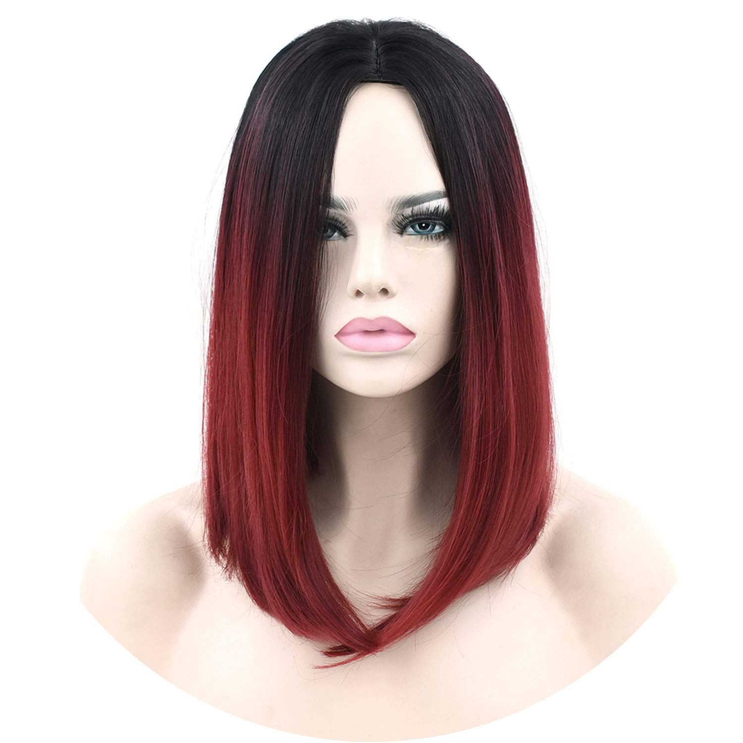 11 Colors Black To Pink Ombre Hair Straight Bob Wigs Synthetic Hair Short Party Hair Cosplay Wig for Women,T1B/Burgundy,16inches by Welcome the good future
