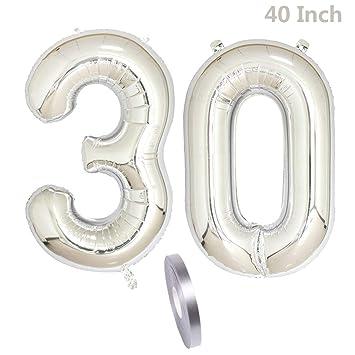 2 globos Número 30, Número 30 Globo Cumpleaños Decoración ...