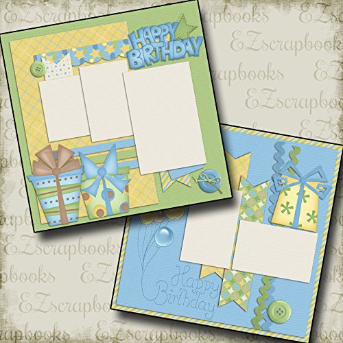 HAPPY BIRTHDAY BOY - Premade Scrapbook Pages - EZ Layout 307 -