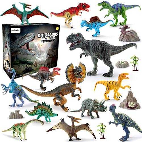 21 Pieces Realistic Dinosaur Figures with Movable Jaws Also Included Stone and Plant Fossil and Map Best Dinosaur Toys Gift for Boys Girls and Adults]()