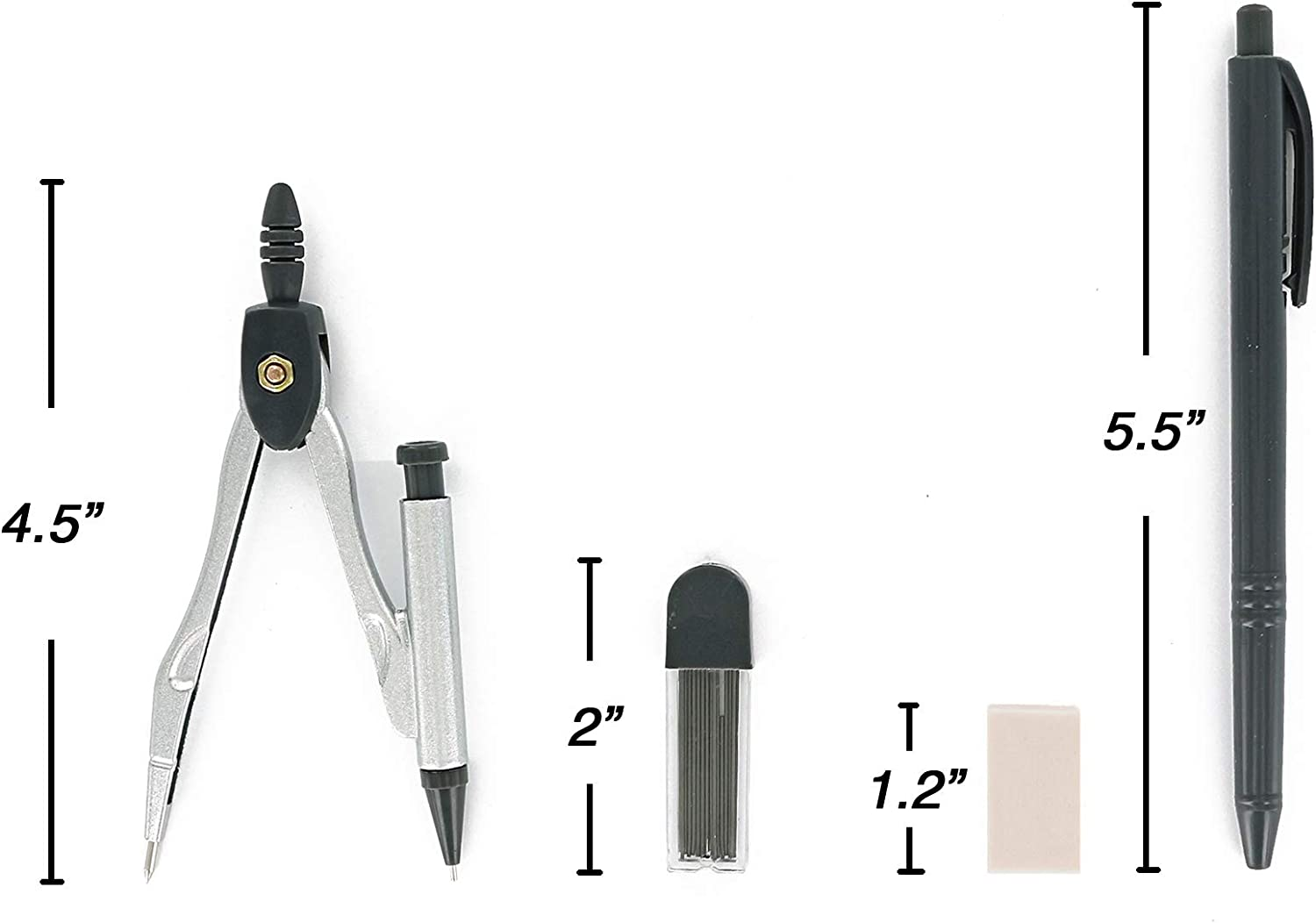 Great for School Emraw 9 Piece Math//Geometry Tool Set Includes: Scale-Arm Compass With a Pen Lead Pencil With Lead Refills /& Protractor Set 2-Pack Home /& Office - White Eraser