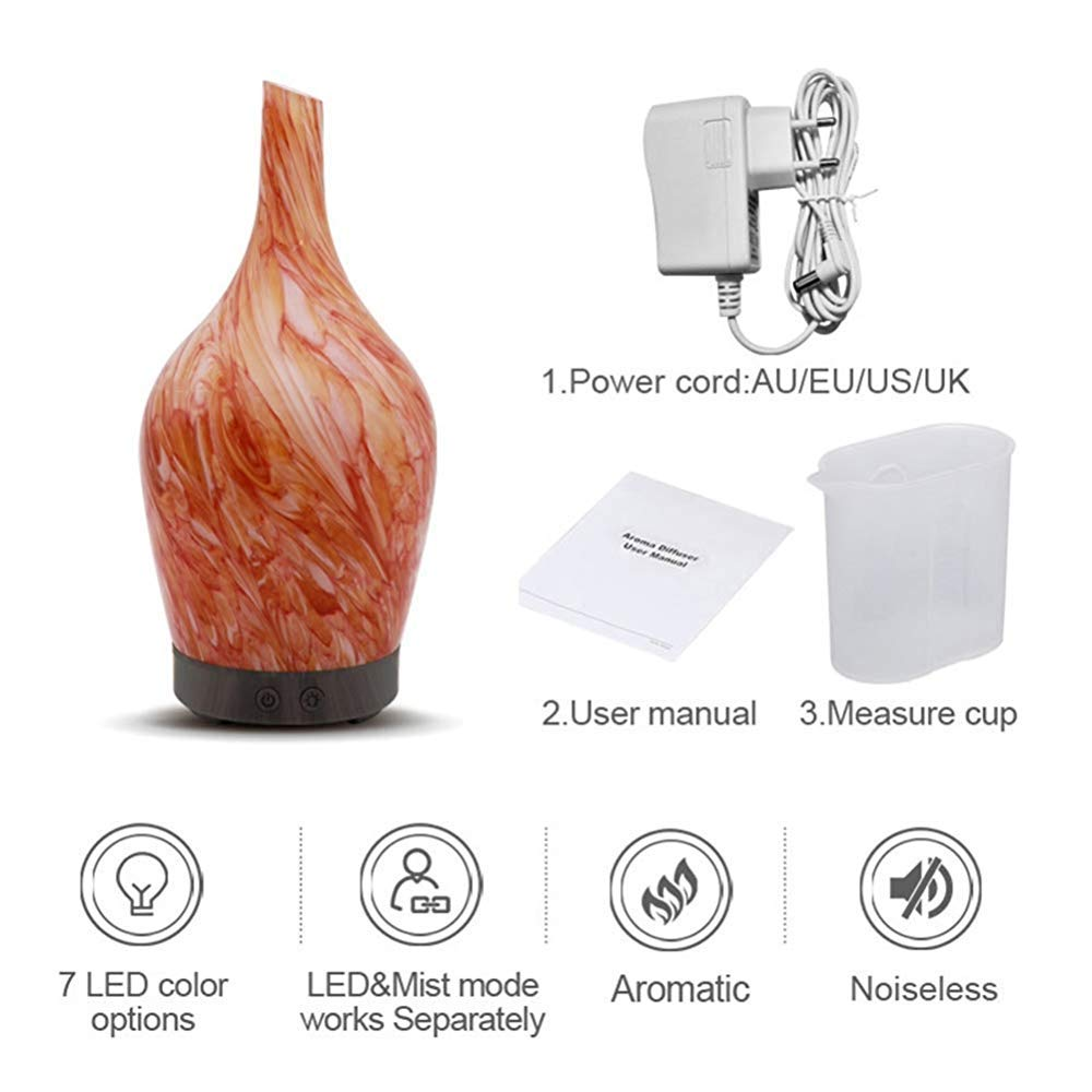 QSCA Household Ceramic Aroma humidifier Office air Conditioning Room Atomizer Glass ultrasonic air Purification Aromatherapy Device-Light Wood Grain by QSCA (Image #3)