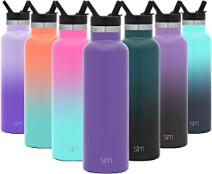 Simple Modern 20 Ounce Ascent Water Bottle with Straw Lid - Stainless Steel Hydro Thermos Tumbler - Double Wall Vacuum Insulated Reusable Metal Leakproof -Lilac