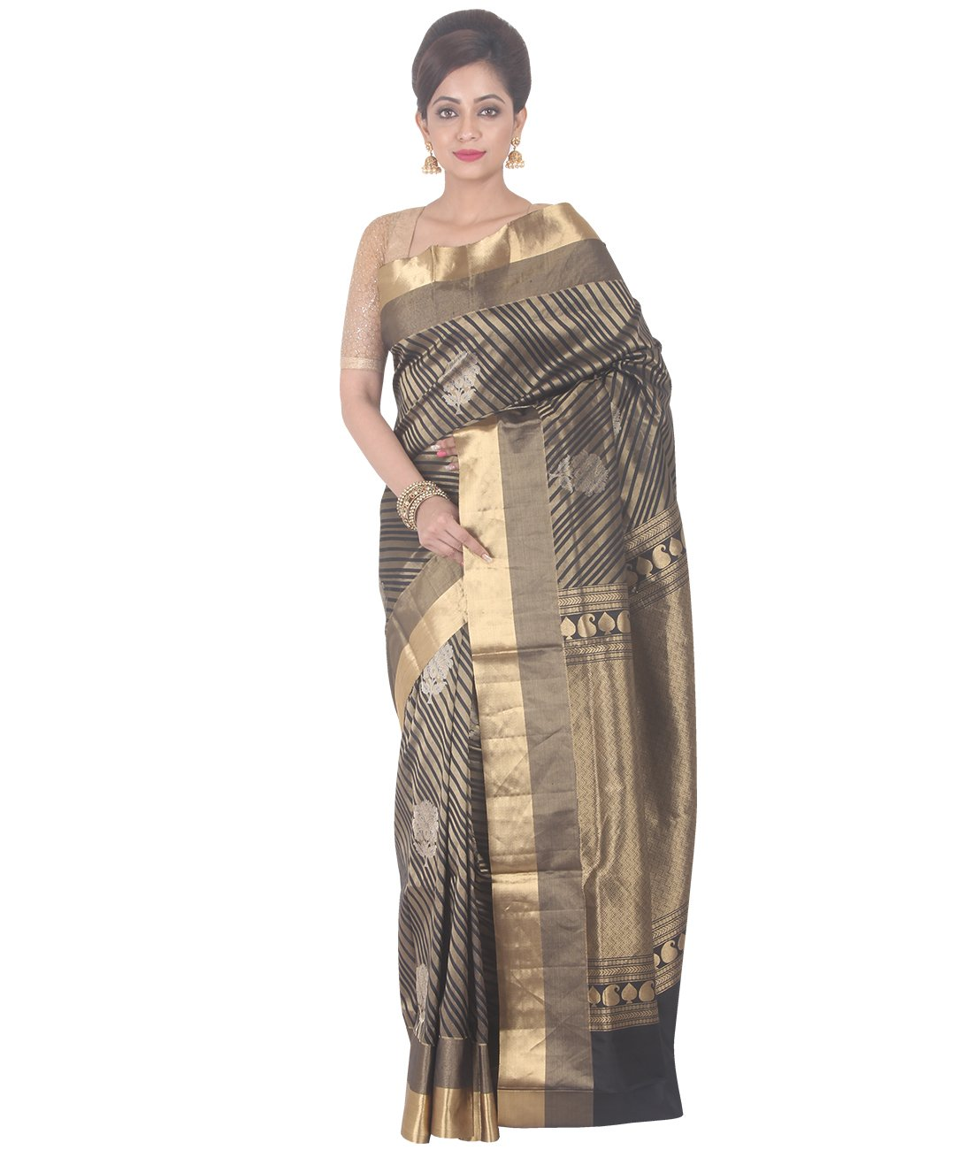 Indian Ethnic Upadda Silk Black And Golden Uppada Saree