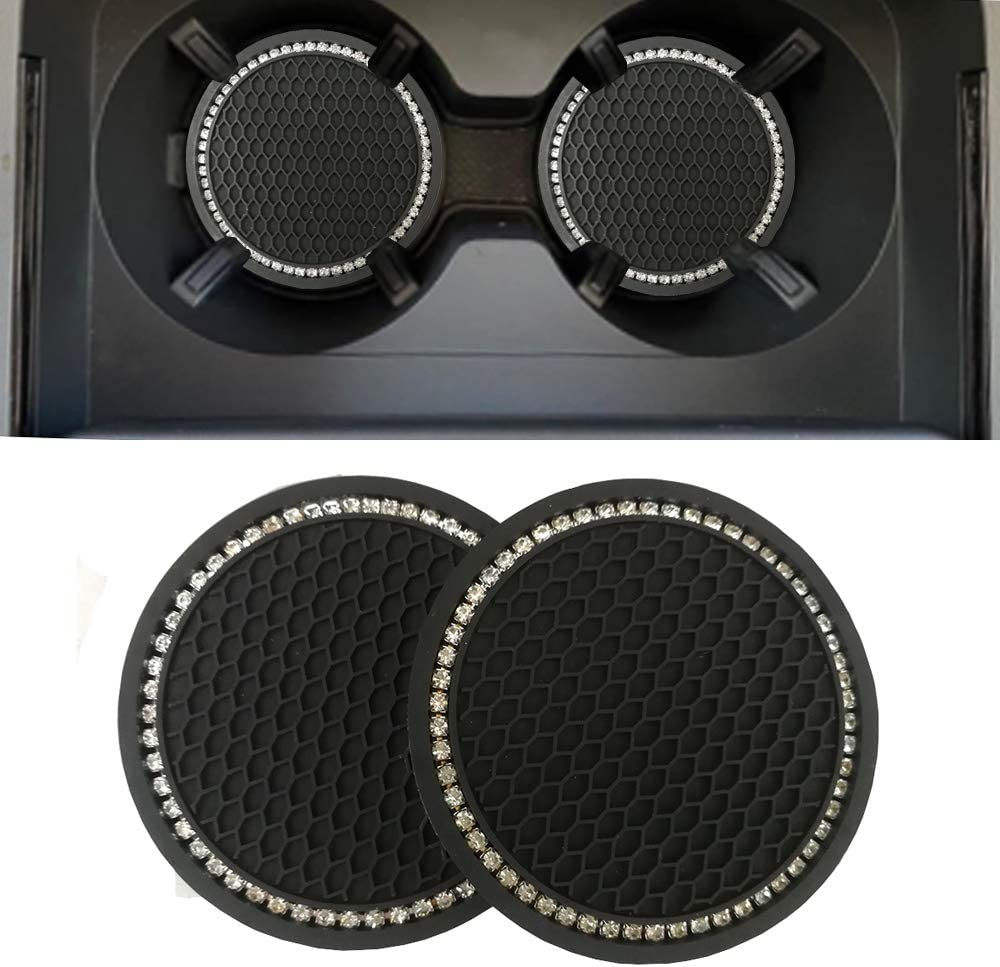 Lipctine 3 Pieces Bling Decor Car Cup Holder Coaster Insert Cup Mat Car Bling Ring Emblem Sticker Bling Car Decoration Accessories